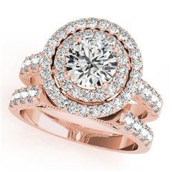 3.42 CTW Certified VS/SI Diamond 2Pc Wedding Set Solitaire Halo 14K Rose Gold - REF-793W8F - 31224