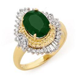 2.58 CTW Emerald & Diamond Ring 14K Yellow Gold - REF-56N4Y - 13399