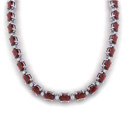 46.5 CTW Garnet & VS/SI Certified Diamond Eternity Necklace 10K White Gold - REF-218T2M - 29424