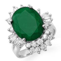 5.41 CTW Emerald & Diamond Ring 18K White Gold - REF-131F3N - 13275