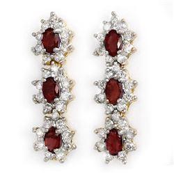 5.63 CTW Ruby & Diamond Earrings 14K Yellow Gold - REF-115Y5K - 14310