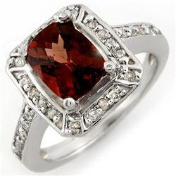 2.40 CTW Pink Tourmaline & Diamond Ring 14K White Gold - REF-64M8H - 10994