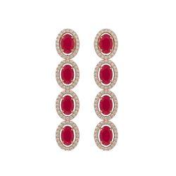 6.47 CTW Ruby & Diamond Halo Earrings 10K Rose Gold - REF-114M2H - 40506