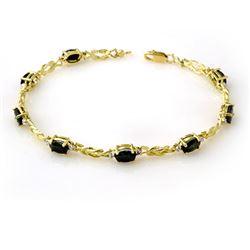 5.32 CTW Blue Sapphire & Diamond Bracelet 10K Yellow Gold - REF-34H9A - 13898