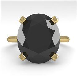 9.0 CTW Oval Black Diamond Engagement Designer Ring 18K Yellow Gold - REF-300N2Y - 32455