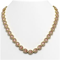 35.13 CTW Morganite & Diamond Halo Necklace 10K Yellow Gold - REF-827A8X - 41056