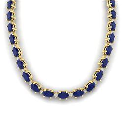 71.85 CTW Sapphire & VS/SI Certified Diamond Eternity Necklace 10K Yellow Gold - REF-563Y6K - 29518