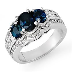3.50 CTW Blue Sapphire & Diamond Ring 18K White Gold - REF-135M6H - 13932