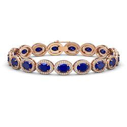 22.89 CTW Sapphire & Diamond Halo Bracelet 10K Rose Gold - REF-291T5M - 40608