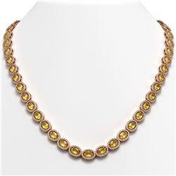 28.52 CTW Fancy Citrine & Diamond Halo Necklace 10K Rose Gold - REF-498M9H - 40443