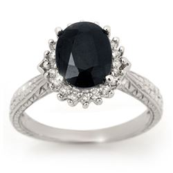 2.75 CTW Blue Sapphire & Diamond Ring 10K White Gold - REF-47K3W - 12754
