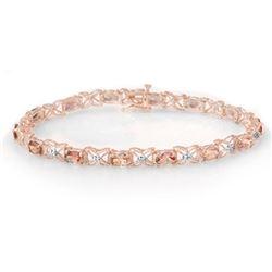 6.0 CTW Pink Tourmaline & Diamond Bracelet 18K Rose Gold - REF-132N5Y - 14140