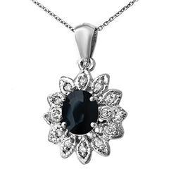 1.75 CTW Blue Sapphire & Diamond Pendant 14K White Gold - REF-42W8F - 13862