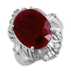 7.84 CTW Ruby & Diamond Ring 18K White Gold - REF-138Y2K - 13240