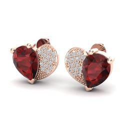 2.50 CTW Garnet & Micro Pave VS/SI Diamond Earrings 10K Rose Gold - REF-30T2M - 20074