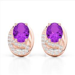 2.50 Amethyst & Micro Pave VS/SI Diamond Stud Earrings 10K Rose Gold - REF-25H6A - 22322