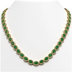 34.11 CTW Emerald & Diamond Halo Necklace 10K Yellow Gold - REF-562F9N - 40402