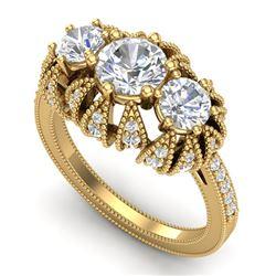 2.26 CTW VS/SI Diamond Solitaire Art Deco 3 Stone Ring 18K Yellow Gold - REF-345H5A - 37003