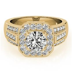 1.5 CTW Certified VS/SI Diamond Solitaire Halo Ring 18K Yellow Gold - REF-292N4Y - 26894