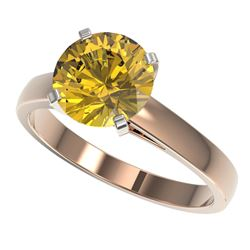 2.50 CTW Certified Intense Yellow SI Diamond Solitaire Ring 10K Rose Gold - REF-579M2H - 33048