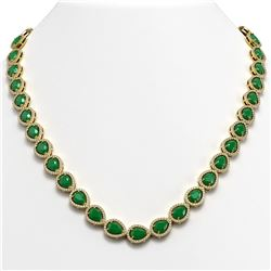 45.93 CTW Emerald & Diamond Halo Necklace 10K Yellow Gold - REF-674T2M - 41044