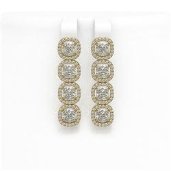 6.01 CTW Cushion Diamond Designer Earrings 18K Yellow Gold - REF-1127A6X - 42721