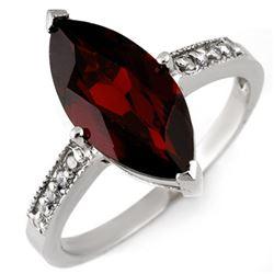 3.10 CTW Garnet & Diamond Ring 10K White Gold - REF-20X4T - 11045