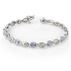 2.62 CTW Tanzanite & Diamond Bracelet 14K White Gold - REF-66K2W - 14243