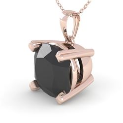 3 CTW Cushion Black Diamond Designer Necklace 14K Rose Gold - REF-79X6T - 38439