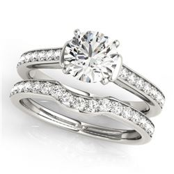 1.83 CTW Certified VS/SI Diamond Solitaire 2Pc Wedding Set 14K White Gold - REF-400K9W - 31640
