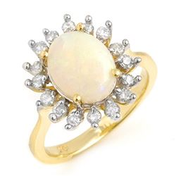 1.78 CTW Opal & Diamond Ring 10K Yellow Gold - REF-50M2H - 13266