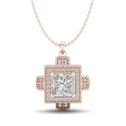 1.46 CTW Princess VS/SI Diamond Micro Pave Necklace 18K Rose Gold - REF-418M2H - 37194