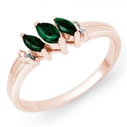 0.29 CTW Emerald & Diamond Ring 18K Rose Gold - REF-31A5X - 13519