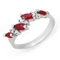 0.61 CTW Ruby & Diamond Ring 18K White Gold - REF-35A3X - 12448