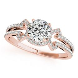 0.9 CTW Certified VS/SI Diamond Solitaire Ring 18K Rose Gold - REF-152T8M - 27967