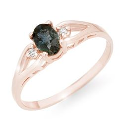 0.52 CTW Blue Sapphire & Diamond Ring 14K Rose Gold - REF-14A9X - 12321