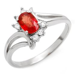 0.70 CTW Red Sapphire & Diamond Ring 10K White Gold - REF-17F6N - 10228