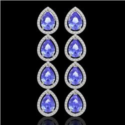 11.2 CTW Tanzanite & Diamond Halo Earrings 10K White Gold - REF-286N9Y - 41291