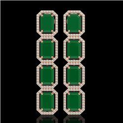 20.59 CTW Emerald & Diamond Halo Earrings 10K Rose Gold - REF-248M2H - 41571