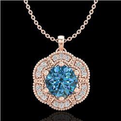 1.01 CTW Fancy Intense Blue Diamond Solitaire Art Deco Necklace 18K Rose Gold - REF-136W4F - 37972