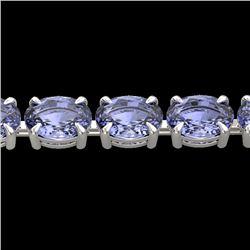 24 CTW Tanzanite Eternity Designer Inspired Tennis Bracelet 14K White Gold - REF-218Y2K - 23395