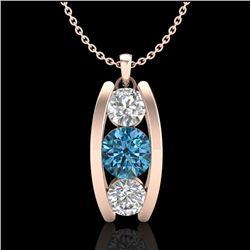 1.07 CTW Fancy Intense Blue Diamond Solitaire Art Deco Necklace 18K Rose Gold - REF-123X6T - 37776