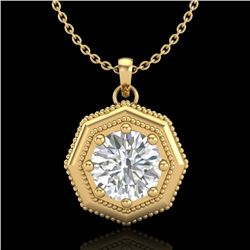 0.75 CTW VS/SI Diamond Solitaire Art Deco Necklace 18K Yellow Gold - REF-180T2M - 37099