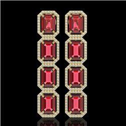19.44 CTW Tourmaline & Diamond Halo Earrings 10K Yellow Gold - REF-290F9N - 41590