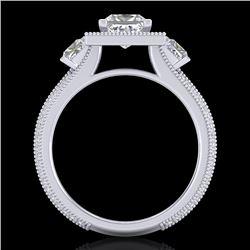 2.5 CTW Princess VS/SI Diamond Micro Pave 3 Stone Ring 18K White Gold - REF-527K3W - 37196