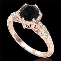 1.17 CTW Fancy Black Diamond Solitaire Engagement Art Deco Ring 18K Rose Gold - REF-85H5A - 38032