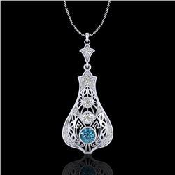 1.75 CTW Fancy Intense Blue Diamond Solitaire Art Deco Necklace 18K White Gold - REF-218Y2K - 37614