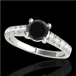 1.55 CTW Certified VS Black Diamond Solitaire Ring 10K White Gold - REF-58W4F - 35492