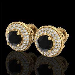 2.35 CTW Fancy Black Diamond Solitaire Art Deco Stud Earrings 18K Yellow Gold - REF-154N5Y - 38131