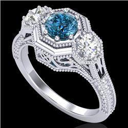 1.05 CTW Intense Blue Diamond Solitaire Art Deco 3 Stone Ring 18K White Gold - REF-161W8F - 37950